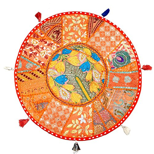 Sophia Art Coussin de Sol Rond Coussin Patchwork Pouf Ottoman Vintage Indien Pied Tabouret Sac de Haricots Housse de Coussin de Sol Home Decor Salon Ottoman Bohemain oreillers (Orange, 32 inch)