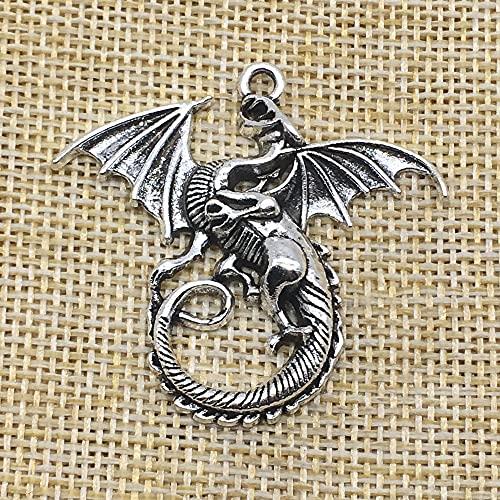 YUNHE 10 Uds, Colgante de Abalorios de dragón Volador, Color Plateado Antiguo, fabricación de Joyas para Bricolaje, Manualidades Hechas a Mano