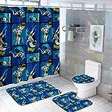 VASHU 4 Stück Batman Duschvorhang-Sets mit Anti-Rutsch Teppichen, WC-Deckelbezug & Badematte, Duschvorhänge mit 12 Haken, langlebig Wasserdicht Badvorhang