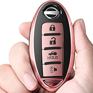 Intermerge for Nissan Key Fob Cover,Key Fob Case for Nissan Altima Maxima Murano Rogue Sentra 370z Pathfinder Smart Remote Premium Soft TPU Nissan Key Cover 4 Button (Rose Gold)