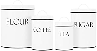 Outshine White Farmhouse Nesting Kitchen Canisters (Set of 4)   Kitchen Canister Set Perfect for Flour, Coffee, Tea, Sugar...