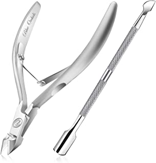 Cuticle Nipper with Cuticle Pusher-Professional Grade Stainless Steel Cuticle Remover..