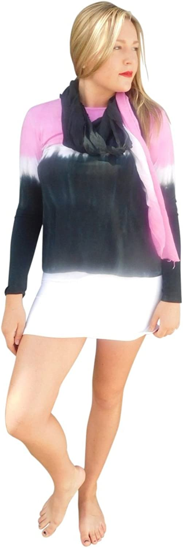 Annie Turbin Silk Modal Wrap Hot Pink & Black Stripe
