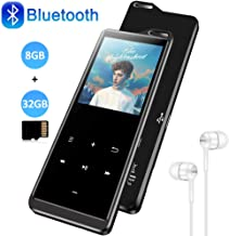 $32 » 8GB MP3 Player with Bluetooth 4.1, with 32G Memory Card, HiFi Lossless Sound Music MP3 Player with FM Radio, Pedometer, Voice Recorder, E-Book, Supports up to 128GB, Earphone Included