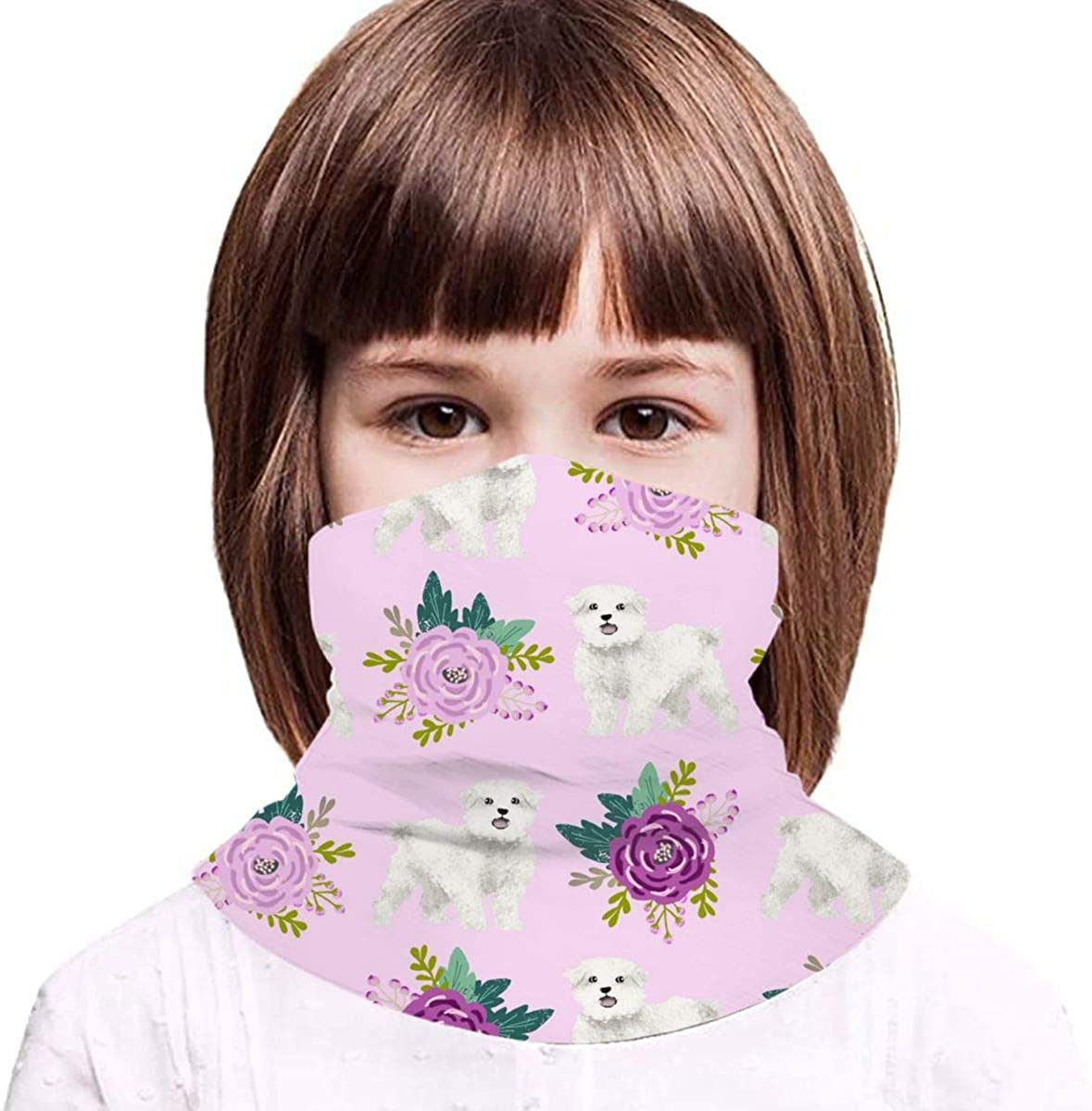 Maltese Floral Dogs And Flowers Design Purple Kids Face Mask Dust Sun UV Protection Neck Gaiter Balaclava Face Cover Scarf Summer Breathable for Cycling Fishing Outdoors