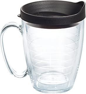 Tervis 1099599 Clear & Colorful Insulated Tumbler with Black Lid, 16 oz Mug Tritan, Clear