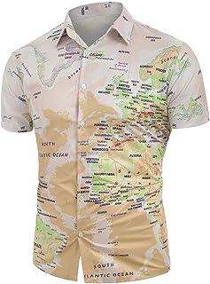 Yumiki ゆみき メンズ 半袖 Tシャツ 面白 プリント オシャレ 薄手 パーカー メンズ Tシャツ カジュアル おもしろい ボタン付き 格好いい シャツ