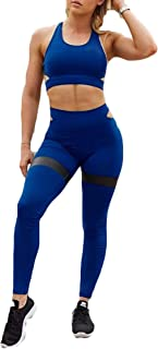 Hotexy Women's Workout Sets 2 Pieces Suits High Waisted Yoga Leggings with Stretch Sports Bra Gym Clothes