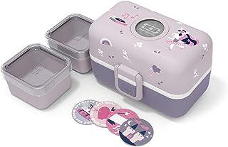 monbento - MB Tresor Violet Licorne bento Enfant - Boite bento Repas ou goûter 3 Compartiments - sans BPA - Durable et sûre
