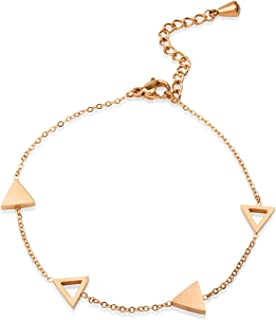 Womens Stainless Steel Cute Triangle Polished Adjustable Bracelet