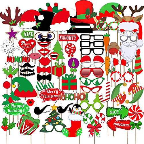 INTVN 82 Pezzi Natale Christmas Photo Booth Props Accessori Fai da Te Selfie Puntelli Santa Baffi Maschere Partito Divertente Kit per Evors Favors Party Decorazione di Nozze Artigianato Accessori