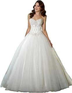 d72fcd2c18 YIPEISHA Sweetheart Beaded Corset Bodice Classic Tulle Wedding Dress