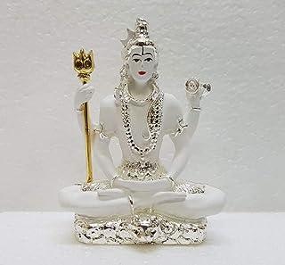 Gold Art India Resin Lord Shiva Idol, Small, White