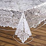 BalsaCircle 70-Inch Clear Square Plastic Vinyl Tablecloth Waterproof Wipeable Protector Table Cover Linens Wedding Party Decorations