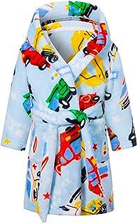 Kids Robe Soft Fleece Hooded Bathrobe Sleepwear for Girls Boys (Cyan, 4T)