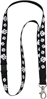 PinMart's Black and White Paw Print School Mascot Lanyard w/Safety Release