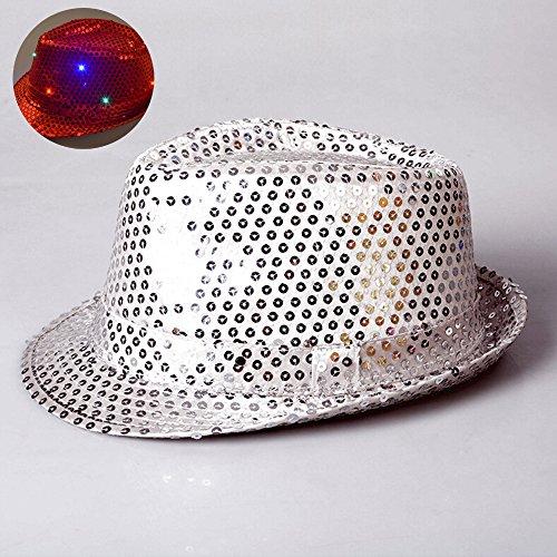 whx Jazz hat,dance dress up props LED light ca LED Flashing Sequin Fedora Hat Party Novelty Costume Jazz Caps-color random