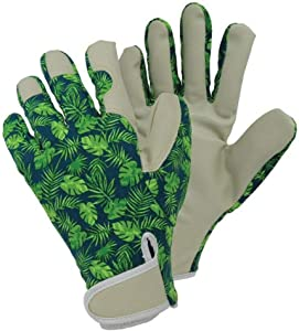 PU Gardening Gloves with Teal Color and Tropical Forest Pattern for Women