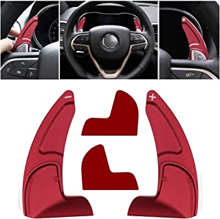Sunluway Aluminum Steering Wheel Dull Polish Shift Paddle Shifter Extension Trim Cover Jeep Grand Cherokee 2014-2020 (Red)