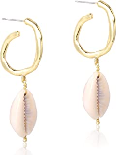 925 Sterling Silver Natural Cowrie Shells Semicircle Hoop Conch Seashell Drop Dangle Earrings 14K Gold Plated Fashion Jewelry for Women Girls