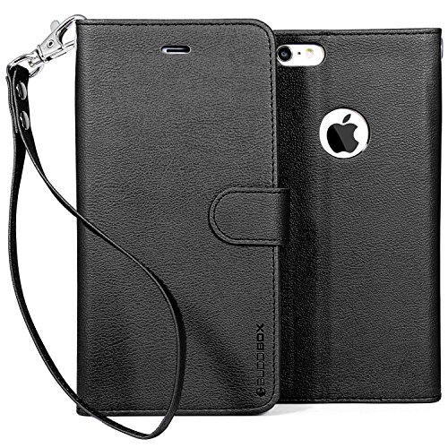 iPhone 6 Plus Case, BUDDIBOX [Wrist Strap] Premium PU Leather Wallet Case with [Kickstand] Card Holder and ID Slot for Apple iPhone 6 Plus, (Black)