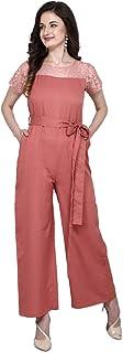 Serein Women's Crepe Jumpsuit (Peach Color Solid Jumpsuit with lace Yoke & Short Sleeve)