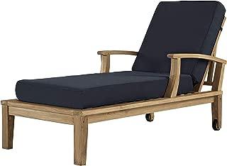 Patio Outdoor Garden Premium Marina Outdoor Patio Teak Single Chaise, Natural Navy