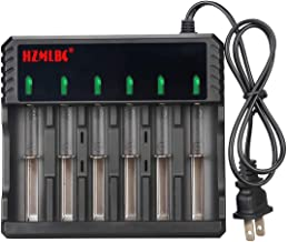 6 Slot Rechargeable Battery Charger LCD Display 6 Bays Universal Smart Charger for 3.6/3.7V Li-ion Rechargeable Batteries AA 26650, 18650, 17670, 18490, 17500, 17335, 16340( RCR123 ), 14500,10440