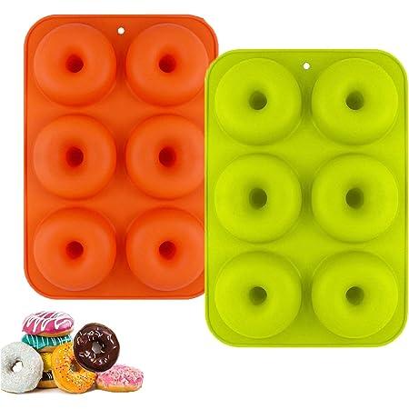 Molde para Donut de Silicona, Juego de 2 Molde de Silicona para Hornear Donut, Antiadherente Molde de Silicona Apto para Lavavajillas, Horno, Microondas, Congelador
