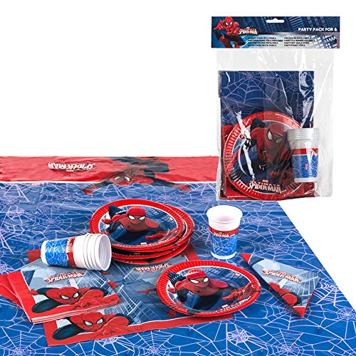 Disney - Pack de fiesta reciclable Spiderman - mantel + platos + vasos + servilletas (ColorBaby 71906)