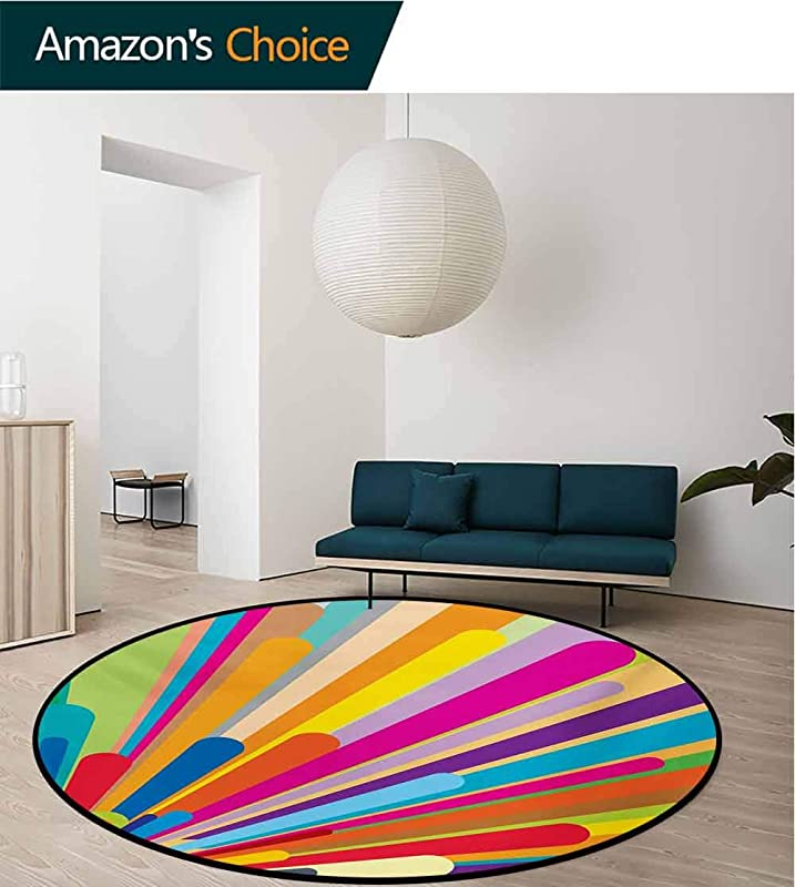 RUGSMAT Vintage Rainbow Modern Machine Round Bath Mat Burst Of Vibrant Colored Lines Funky Graphic Disco Design From The Sixties Non Slip No Shedding Kitchen Soft Floor Mat Diameter 24 Inch