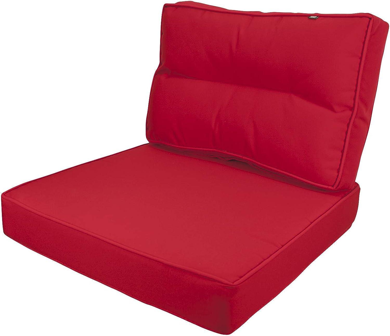 Kopu Prisma Lounge Kissen Set Auflage Polster Garten Kissen Sitz und Rücken 60 cm Rot - rot