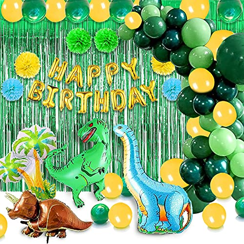 Dinosaur Party Supplies Kit-117 Pcs Birthday Party Decorations with Dinosaur Themed Party Favors Include Dinosaurs Balloons,Happy Birthday Banner Garland,Backdrop Prefect for Your Kid's Party