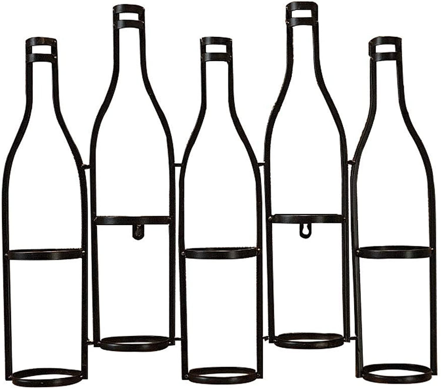 Great St. Home Wall Hanging Wine Rack Wrought Iron 5 Bottles (color   2) (color   1, Size   -)