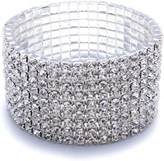 Timelessbride European Princess Cut Clear Crystal Rhinestone Silver Tone Wrap Bracelet, Great for Weddings Proms Bridesmaids