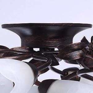 MW-Light Lámpara de techo Antik Braun,weiß 8 flammig