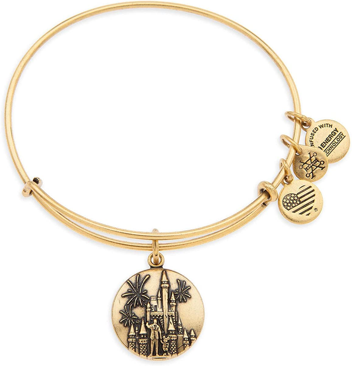 Alex and Ani Cinderella Castle with Walt Disney and Mickey Mouse Bangle Walt Disney World - Gold