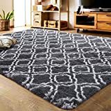 LOCHAS Luxury Velvet Shag Area Rug Modern Indoor Plush Fluffy Rugs, Extra Soft and Comfy Carpet, Geometric...