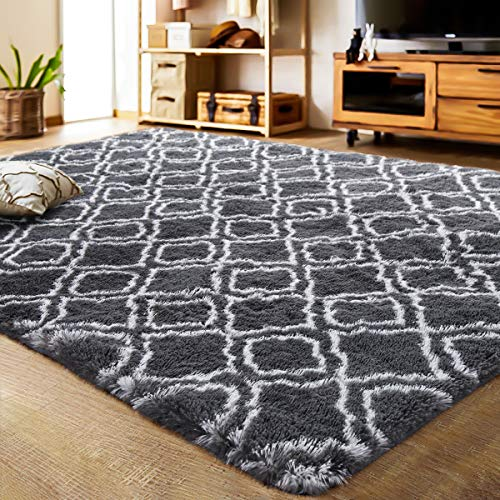 LOCHAS Luxury Velvet Shag Area Rug Modern Indoor Plush Fluffy Rugs, Extra Soft and Comfy Carpet, Geometric Moroccan Rugs for Bedroom Living Room Girls Kids Nursery (5x8 Feet, Dark Grey/White, HS2)