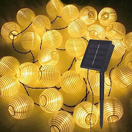 Guirlandas Luces Exterior Solar   Bombillas Solares Con 30 Luces LED   Decoracion Jardin, Balcon Y Pergolas   6,5 Metros De Cordón