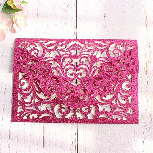 Piero uitnodigingen hol goud zilver rose goud bruiloft bruids gift card verjaardagskaart, fuchsia, blanco hele set