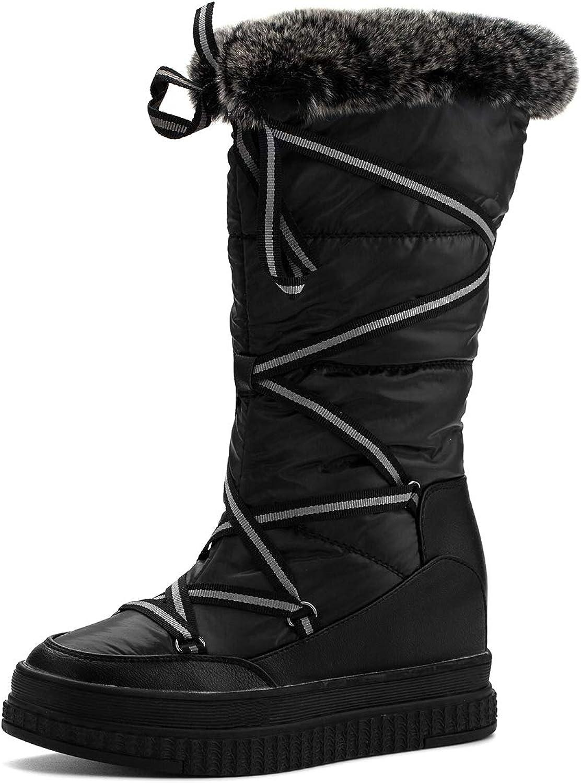Jivana Women's Winter Flat Mid-Calf Booties Hidden Heel Wedge Boots