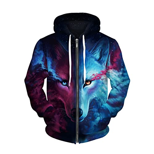 dbb880987c7d6 Royalove Unisex 3D Printed Long Sleeve Zip Up Sweatshirt Hoodies Blazer  Jacket