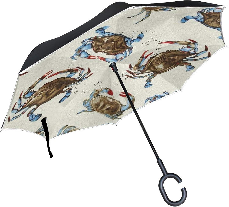 f84fff3adc3d Gaz X Crab Pattern Umbrella Double Layer Windproof UV Large Upside ...