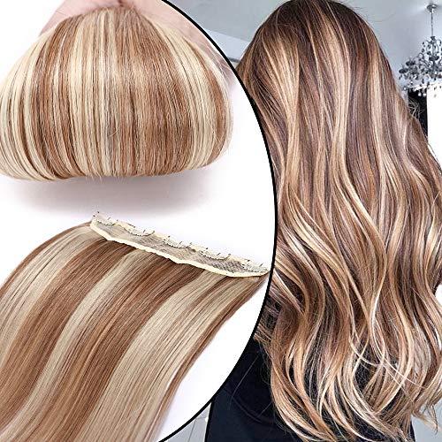 45cm Extension Capelli Veri Clip Fascia Unica 100% Remy Human Hair Capelli Naturali Lisci Allungamento, 12/#613 Marrone Chiaro+Biondo
