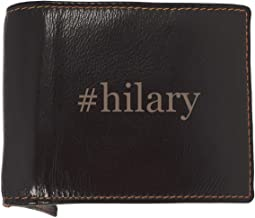 #hilary - Soft Hashtag Cowhide Genuine Engraved Bifold Leather Wallet