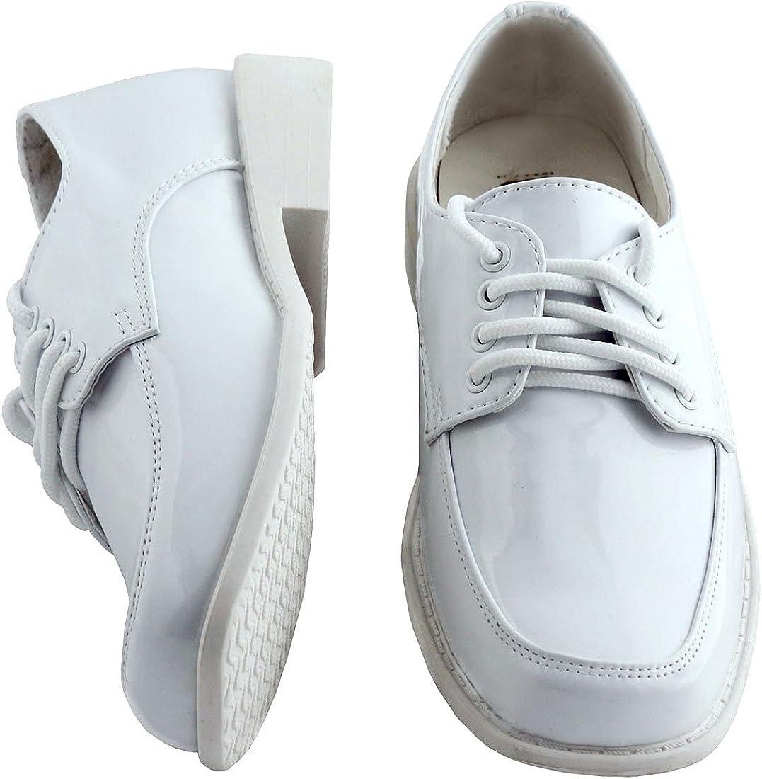 Tuxgear Boys Square Toe Formal Lace Up Shiny Tuxedo Shoe, White