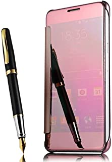 Shinetop iPhone 7 Plus Mirror Case,Luxury Slim Fit Plating Smart Clear View Case Flip PC Hard Cover 360 Full Body Shockproof Protective Skin Cover Compatible with iPhone 7 Plus/iPhone 8 Plus-Rose Gold