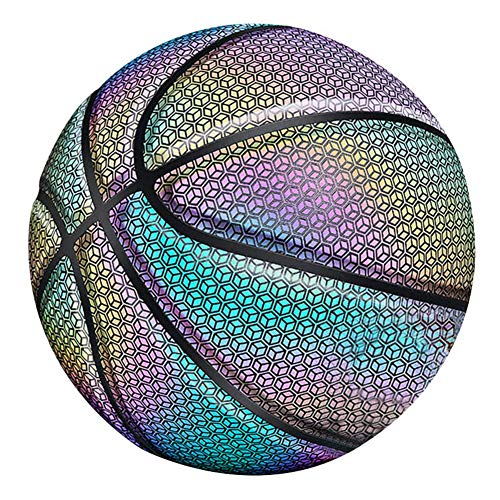 Fantastic Prices! Alexsix Glowing Reflective Basketball, Night Colorful Wear-Resistant Basketball Sp...