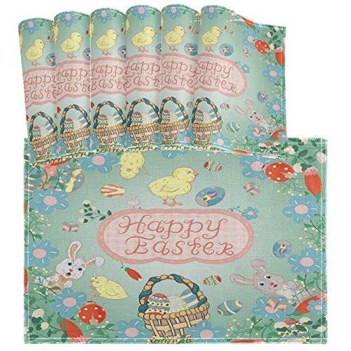 Oarencol Juego de 6 manteles individuales de conejo de Pascua con diseño de gallinero y flores resistentes al calor, lavables para decoración de cocina y comedor